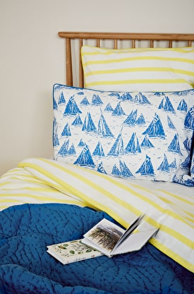 Print & Chambray Cotton Pillowcase