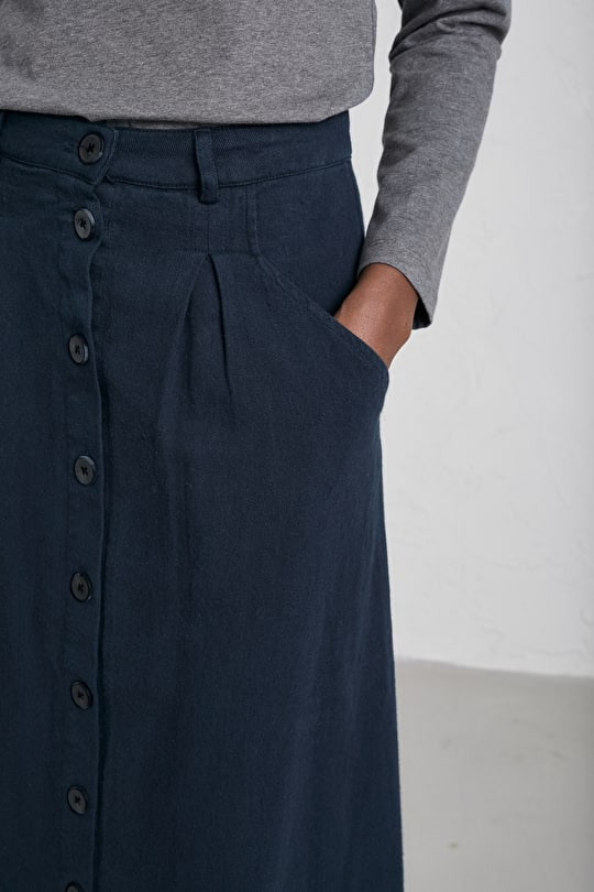 Screen Test Skirt, An A-Line Midi Linen Cotton Skirt