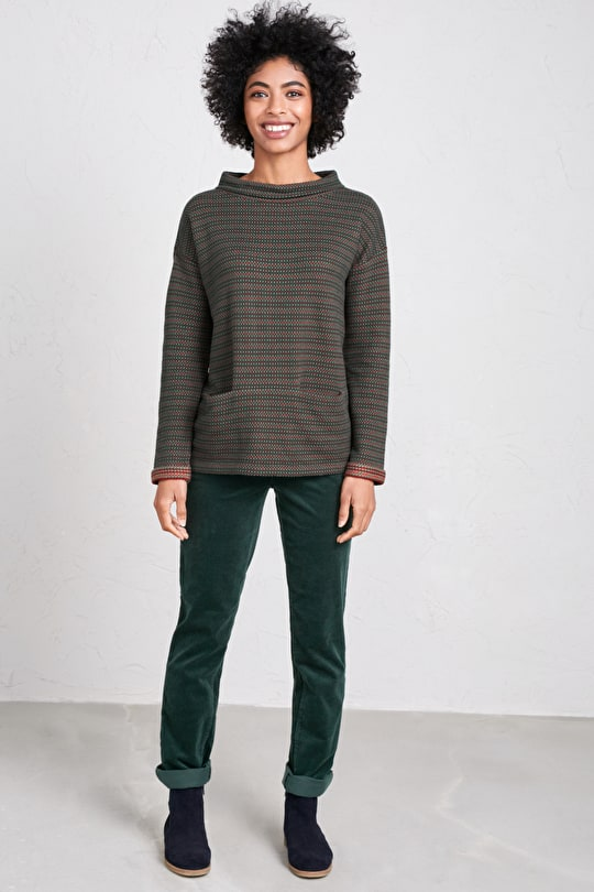 Lanreath Sweatshirt, Cotton Jacquard Jumper - Seasalt Cornwall