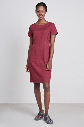 Gathering Light Dress, Linen-cotton Twill Knee Length Dress