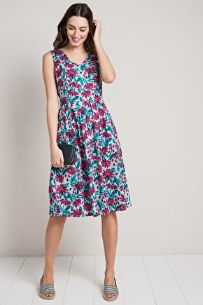Picnic Spot Dress, Sleeveless Cotton Voile Dress - Seasalt