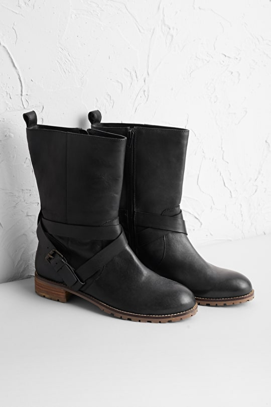 Black Cliff Boot, Calf Length Leather Boot