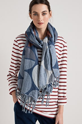 Slumber cotton scarf in unique prints with tasseled edges - Seasalt