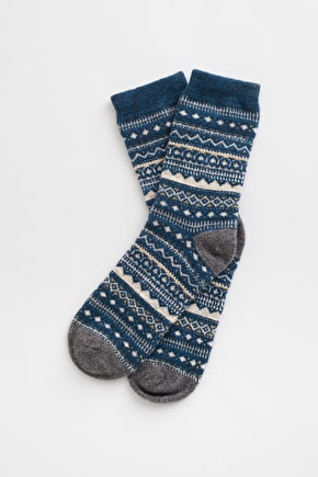 Fair Isle Socks - Soft Lambswool Walking Socks Seasalt