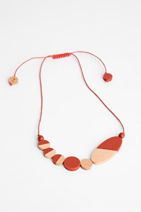 Abstracted Necklace, Resin and Haldu Wood Bead - Seasalt