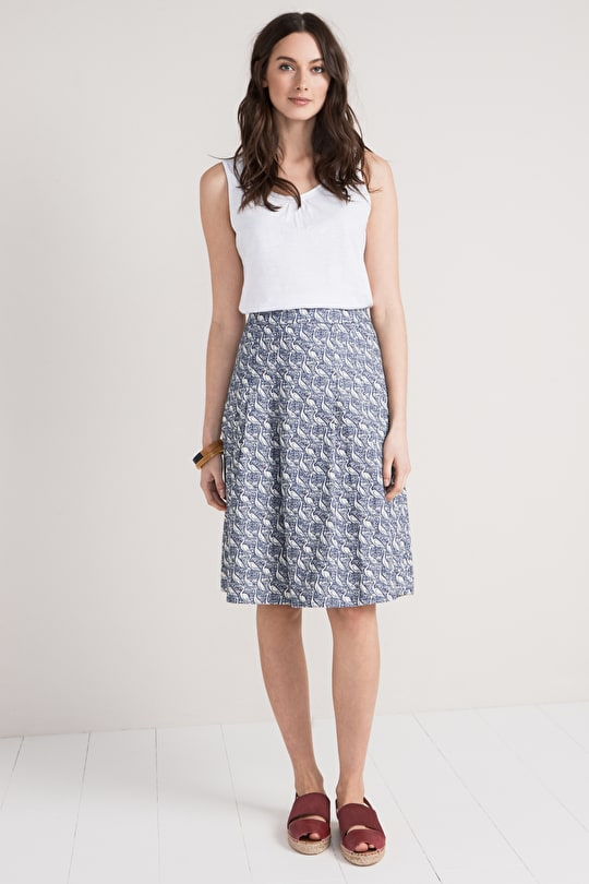 Poldown Skirt, Soft Cotton Chambray Printed Skirt - Seasalt