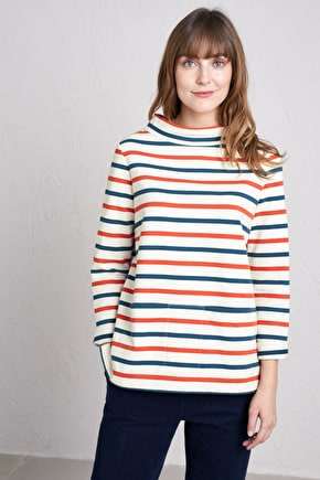 Namparra Sweatshirt, Cosy Striped Organic Cotton Sweat - Seasalt Cornwall