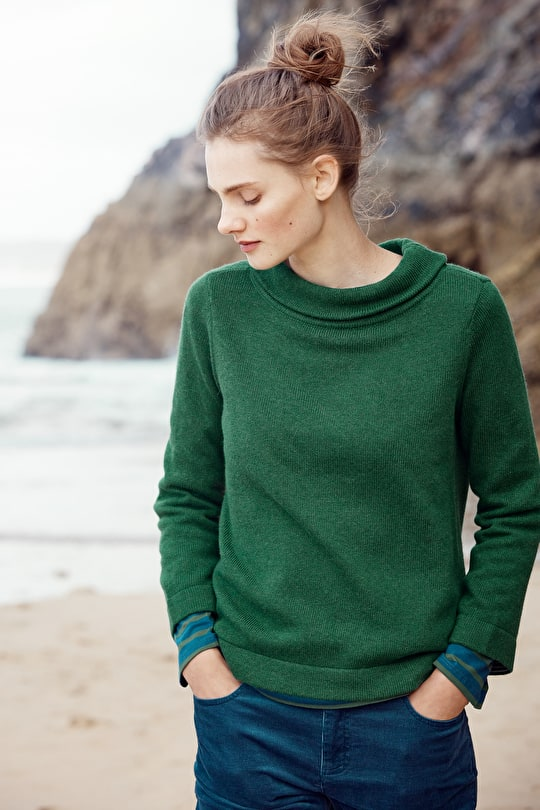 Gulf Jumper - Plain Merino Mix With Hepburn Collar - Seasalt