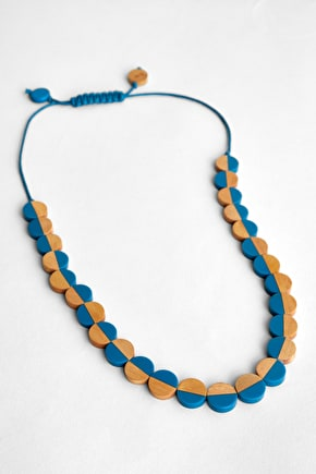 Wood and Resin Beaded Womens Necklace, Inspired Necklace - Seasalt