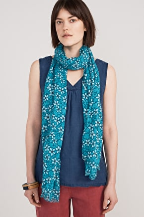 Lightweight Cotton Unique Print Summer Scarf - Seasalt
