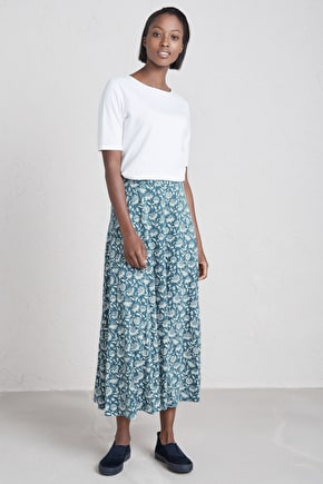 Stratus Cotton Jersey Drapey Maxi Skirt - Seasalt