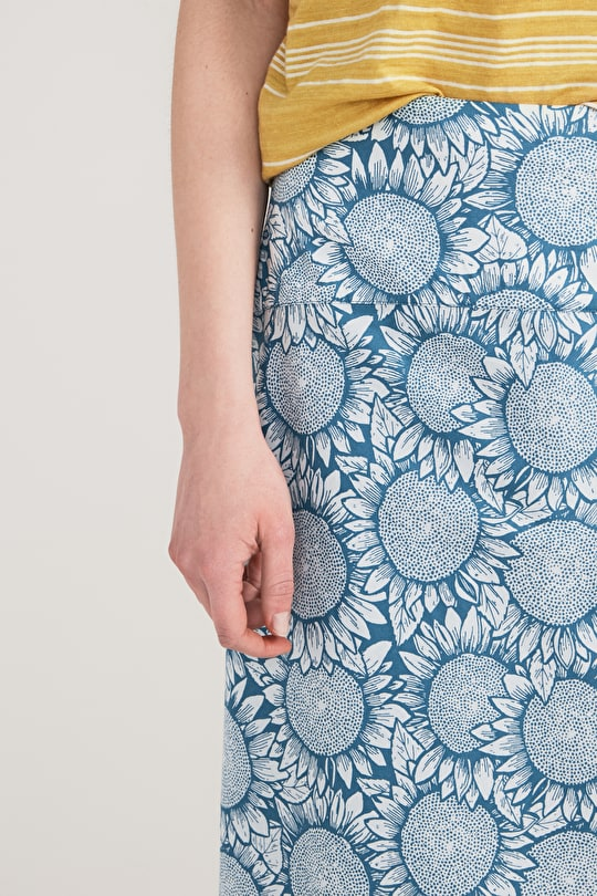 A Printed Cotton A-Line Maxi Panel Skirt - Seasalt