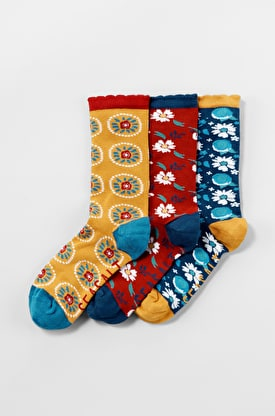 Women's Floral Feet Socks Box Of 3