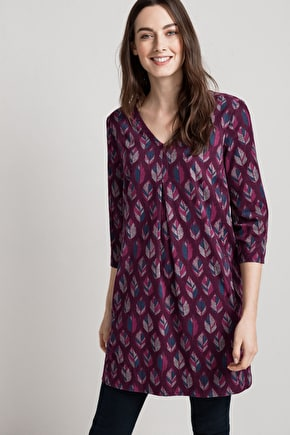 Flattering A-line Tunic Top. In Soft Needlecord - Seasalt