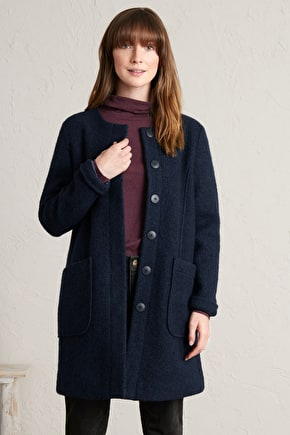 Charcoal Burner Coat, Soft Boiled Wool Coat - Seasalt