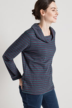 Elegant Reversible Top. Organic Cotton & Cowl Neck - Seasalt