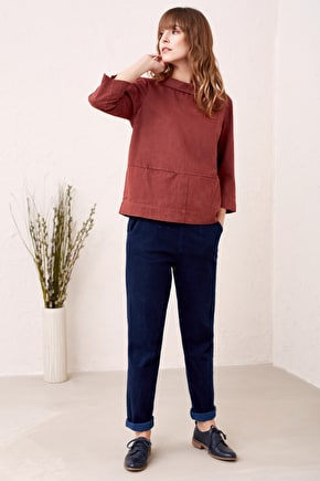 Polarising Top, Linen-Cotton 3/4 Length Shirt