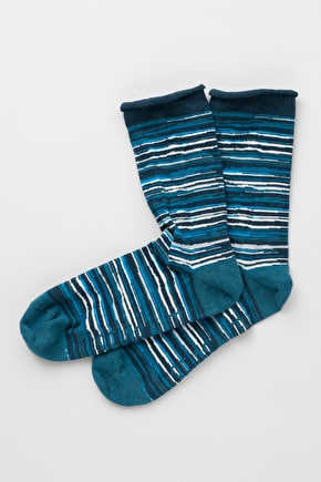 Women's Arty Stripe Socks, Organic Cotton Ankle Socks