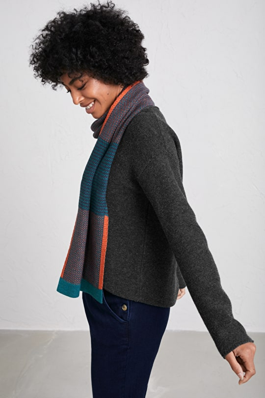 Chunky Signpost Scarf in 100% Cotton - Seasalt