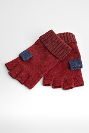 Coppicing Fingerless Gloves, Wool Mix - Seasalt