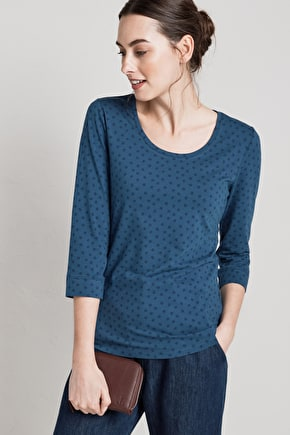 Cousin Jinny Top. Flattering Organic Cotton T-shirt - Seasalt