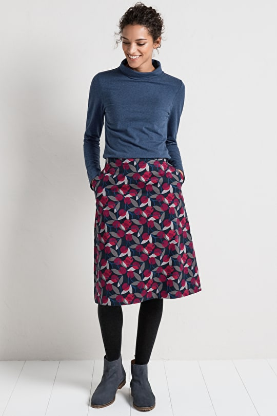 Brume Skirt. Pretty Cotton Cord Skirt. A-line, Midi Style - Seasalt