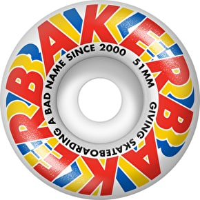 Baker Swipe Skateboard Wheels - Red/Yellow/Blue 51mm