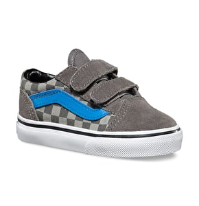 Vans Old Skool V Toddler Shoes - (Checkerboard) Pewter