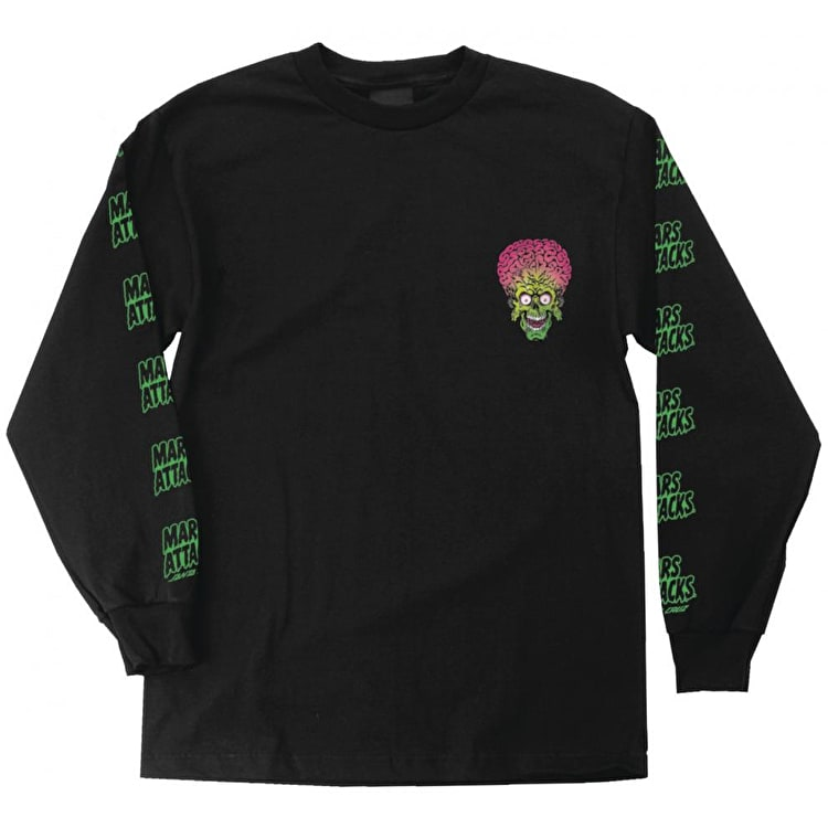 Santa Cruz x Mars Attacks Martian Face Long Sleeve T-Shirt - Black