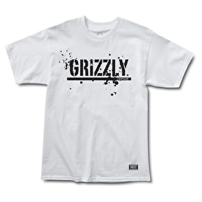 Grizzly Splatter Stamp T-Shirt - White