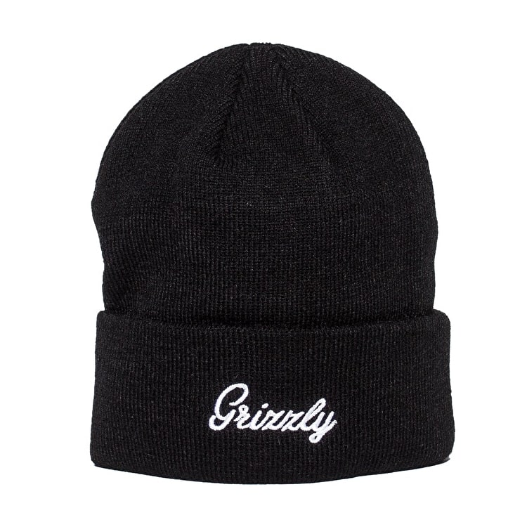 Grizzly Cursive Fold Beanie - Black