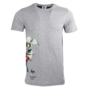 Hype Floral Side T-Shirt - Grey Marl