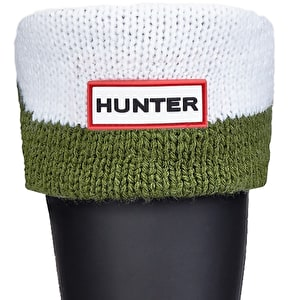 Hunter Kids Moustache Boot Socks - Green / White