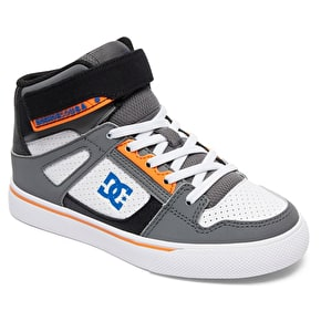 DC Spartan High Kids Skate Shoes - Grey/Blue/White
