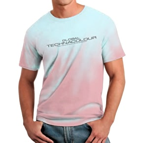 Global Technacolour Graphic T-Shirt - Pink to Blue