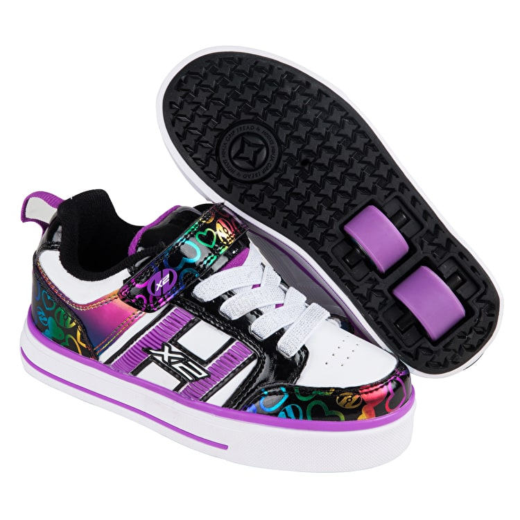 Heelys X2 Bolt Plus Light Up - White/Black/Rainbow Hearts