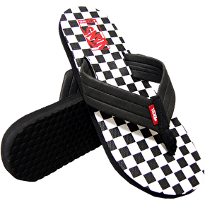 Vans 204 Print Flip Flops - (Checker) Black/White/Chili Pepper