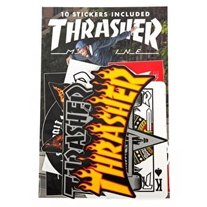 Thrasher Skateboard Stickers - Assorted 10 Pack