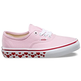 Vans Authentic Kids Skate Shoes - (Hearts Tape) Pink Lady/Red