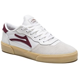 Lakai Cambridge Skate Shoes - White/Burgundy Suede