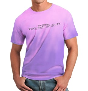 Global Technacolour Graphic T-Shirt - Purple to Pink