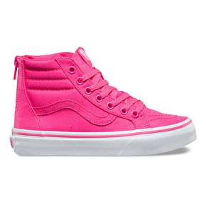 Vans Sk8-Hi Zip Kids Skate Shoes - (Neon Canvas) Pink/True White