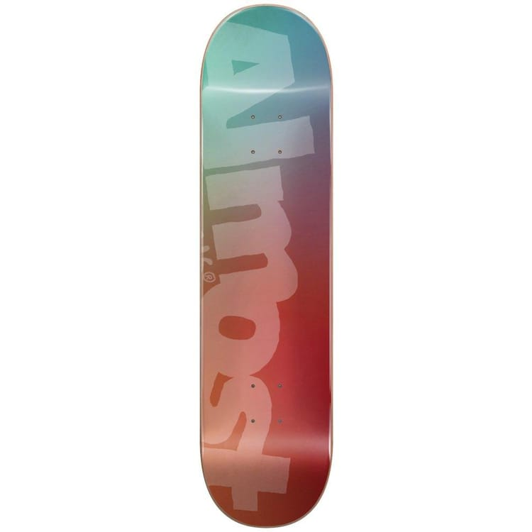 Almost Side Pipe Blurry Skateboard Deck - Teal/Cardinal 8.25""