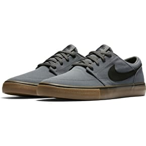 Nike SB Portmore II Solar Canvas Skate Shoes - Dark Grey/Black