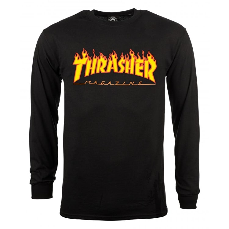 Thrasher Flame Long Sleeve T shirt - Black