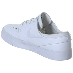 Nike SB Stefan Janoski Leather Shoes - White/White/Wolf Grey