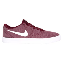 Nike SB Check Solarsoft Canvas Premium Womens Skate Shoes - Bordeaux/White/Black
