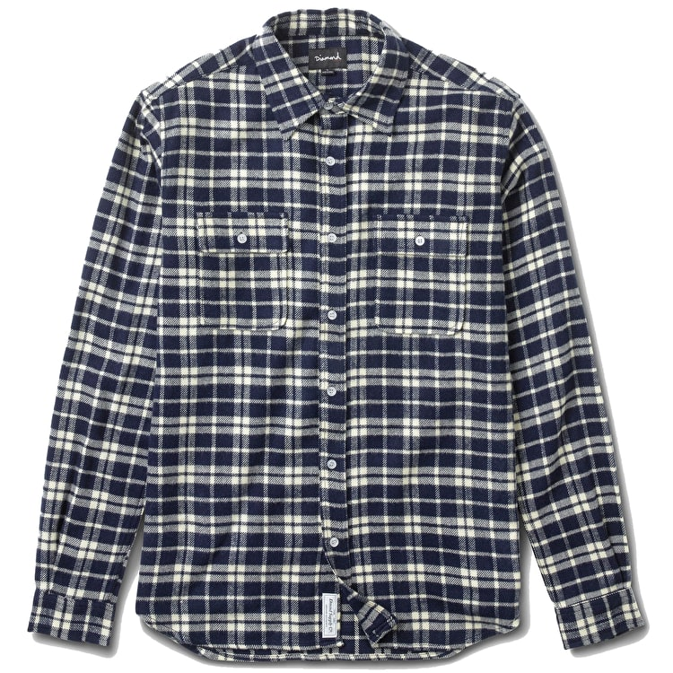 Diamond Baker Flannel Plaid Shirt - Navy