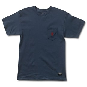 Grizzly OG Bear Embroidered Pocket T-Shirt - Navy