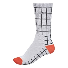 Globe Motion Crew Socks - White Grid